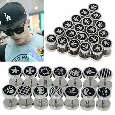 Lots 24pcs Punk Jewelry Stainless Steel Round Plain Men Ear Stud Barbell Earring