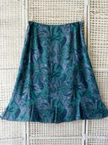~ 18 2layer Crepe Floral Midi lana Paisley Kick Gonna e Pendleton Seta Blues Gored 7qgO1