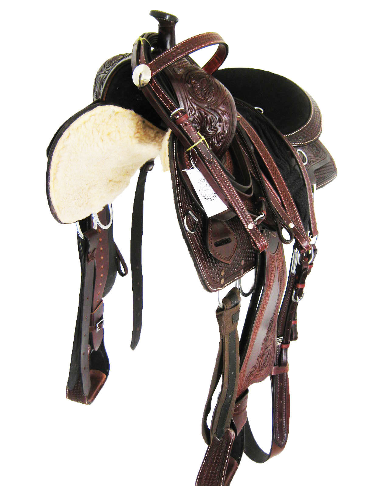 THSL  WESTERN ENDURANCE SADDLE SET  WITH HORN - MAHOGANY BROWN 16  (1085)  timeless classic