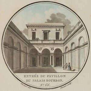 Janinet (1752-1814), n. Durand, Entrée du Pavillon du Palais Bourbon, Radierung