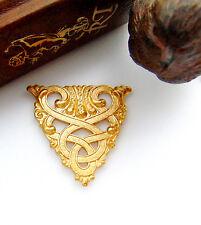 BRASS CREST Irish Celtic - Scroll Plaque Stamping ~ Jewelry Finding (CB-3061)