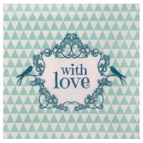 """Serviette /""""Mint with Love/"""" Hochzeit Servietten"""