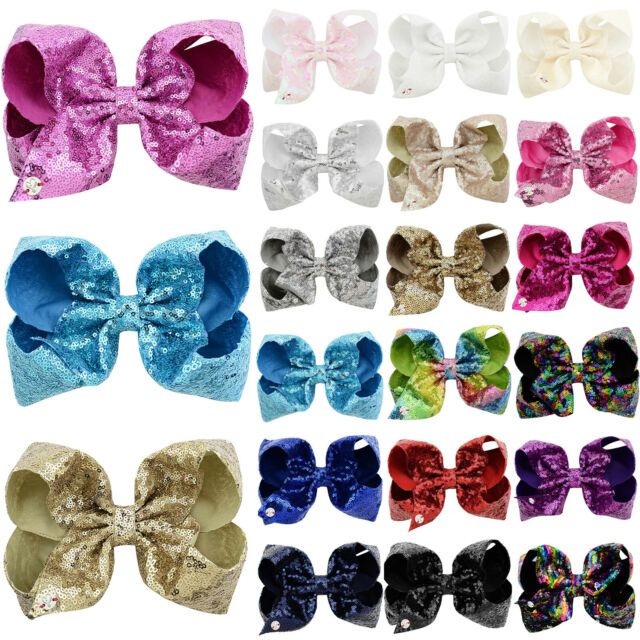 8 Inch Glitter JOJO Girls Bows Hair Bow With Alligator Clip Large Ribbon Hairpin