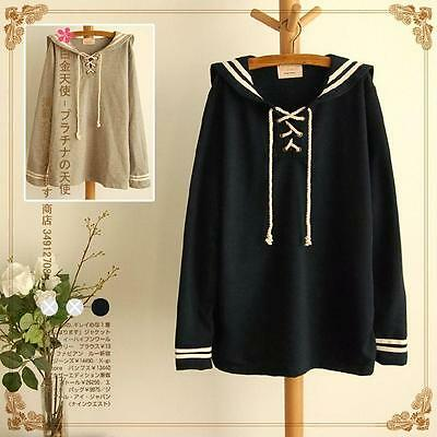 Amo Sweater Navy Sailor Collar Student Hoodie Harajuku Cute Sweats
