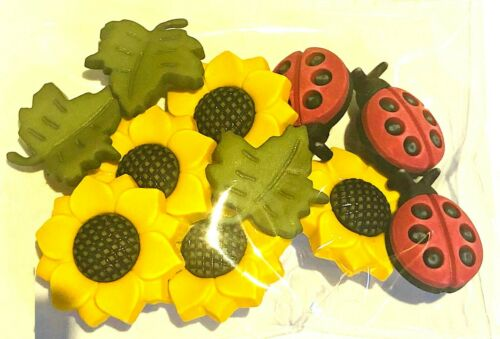Buttons Galore SUNFLOWER 168 Ladybugs Leaves Autumn Fall  Sew Craft Scrap