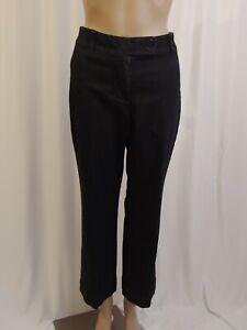 Talbots Womens Petites Pants Black Cotton Flared Hem Bottom Size 6P
