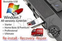 Windows 7 32-64bit All Versions Reinstall, Recovery Usb Flash Drive & Dvd +hd