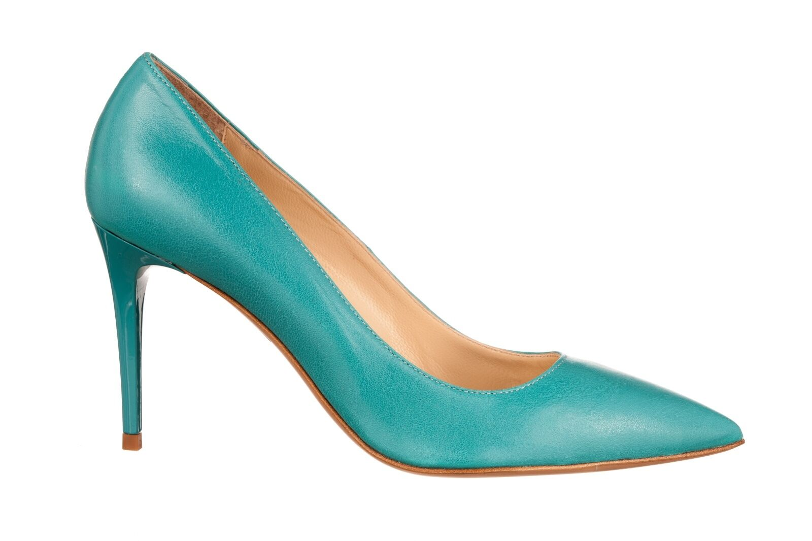 MORI MADE IN ITALY POINTY HIGH HEELS HEELS HEELS PUMPS SCHUHE LEATHER TURCHESE BLUE BLAU 41 66fb5a