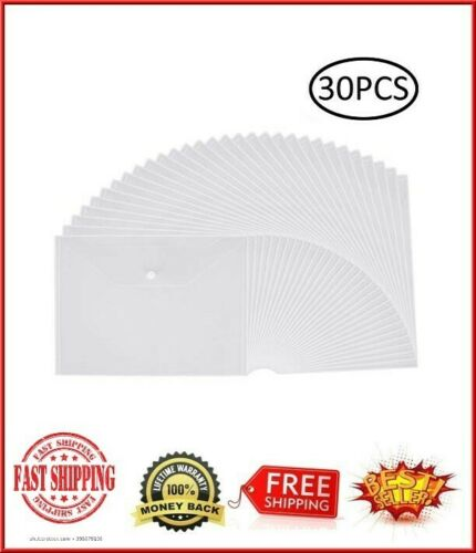 30pcs Plastic Envelopes Clear Poly Envelope Waterproof File Folder W//Snap Button