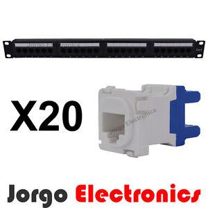 19-034-Inch-1RU-CAT6-24-Port-Patch-Panel-amp-20-CAT6-RJ45-Clipsal-compatible-Inserts