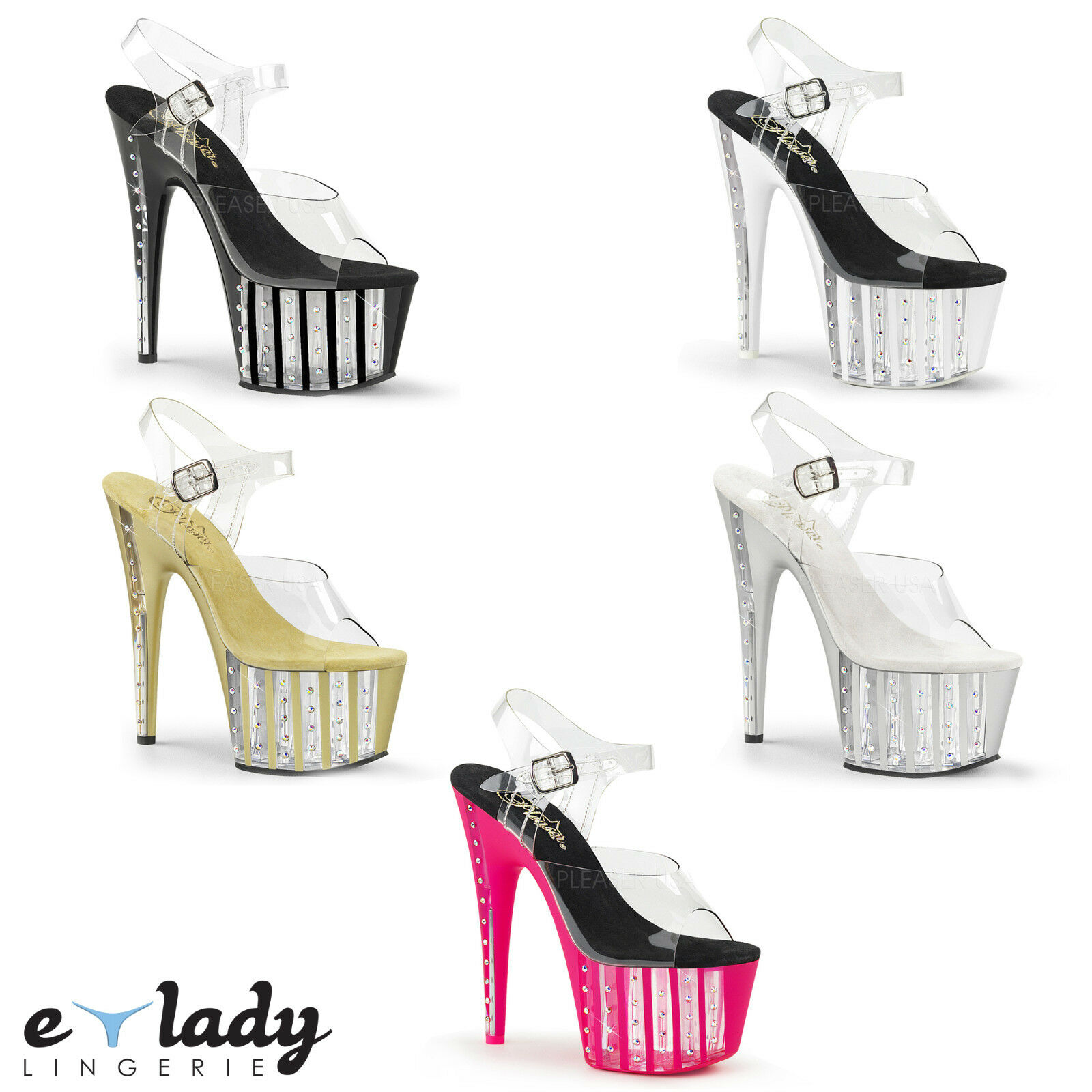 Pleaser Adore-708VLRS Ankle Strap Platform Sandals shoes High Heels Pole Dancing
