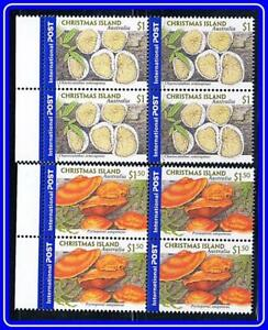AUSTRALIA-CHRISTMAS-IS-2001-local-MUSHROOMS-blocks-of-4-w-MARGIN-MNH-CV-15-00