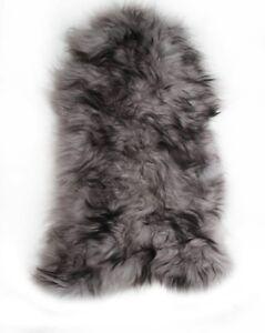 Grey Icelandic Sheepskin Rug with Black