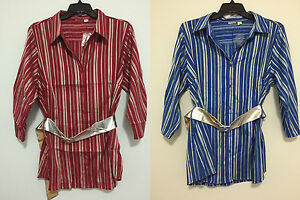 Cato-Striped-Plus-Size-Multiple-Size-Belted-Blue-amp-Red-Button-Down-Shirt-Top-New
