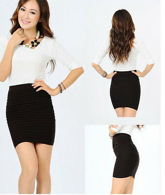 NEW Womens Girls Slim Stretch Bodycon Bandage Micro Mini Skirt one size fit 6-14