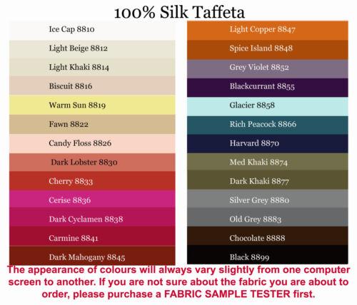 4x5cm colour testers /& per metre sales 140cm Wide 100/%Silk Taffeta,25+colours,