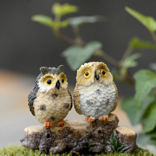 4XGarden Ornament Miniature Owl Resin Figurine Craft Pots Garden DecorativeBIN