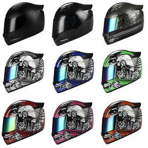 1STORM MOTORCYCLE BIKE FULL FACE HELMET MECHANIC SKULL BLACK BLUE GREEN PINK RED
