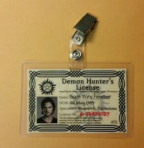 Supernatural-ID-Badge-Demon-Hunter-039-s-License-Sam-Winchester-costume-cosplay