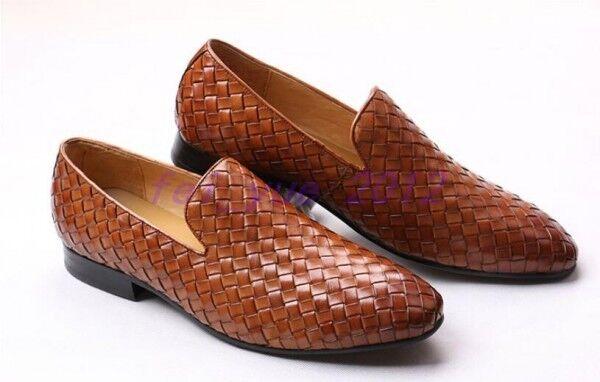 100% di contro garanzia genuina US 5-12 Uomo Woven Leather Flat Slip on Business Business Business Casual scarpe Loafers Moccasins  consegna e reso gratuiti