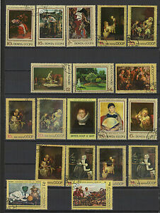 TABLEAUX-annees-70-RUSSIE-40-timbres-obliteres-T1409