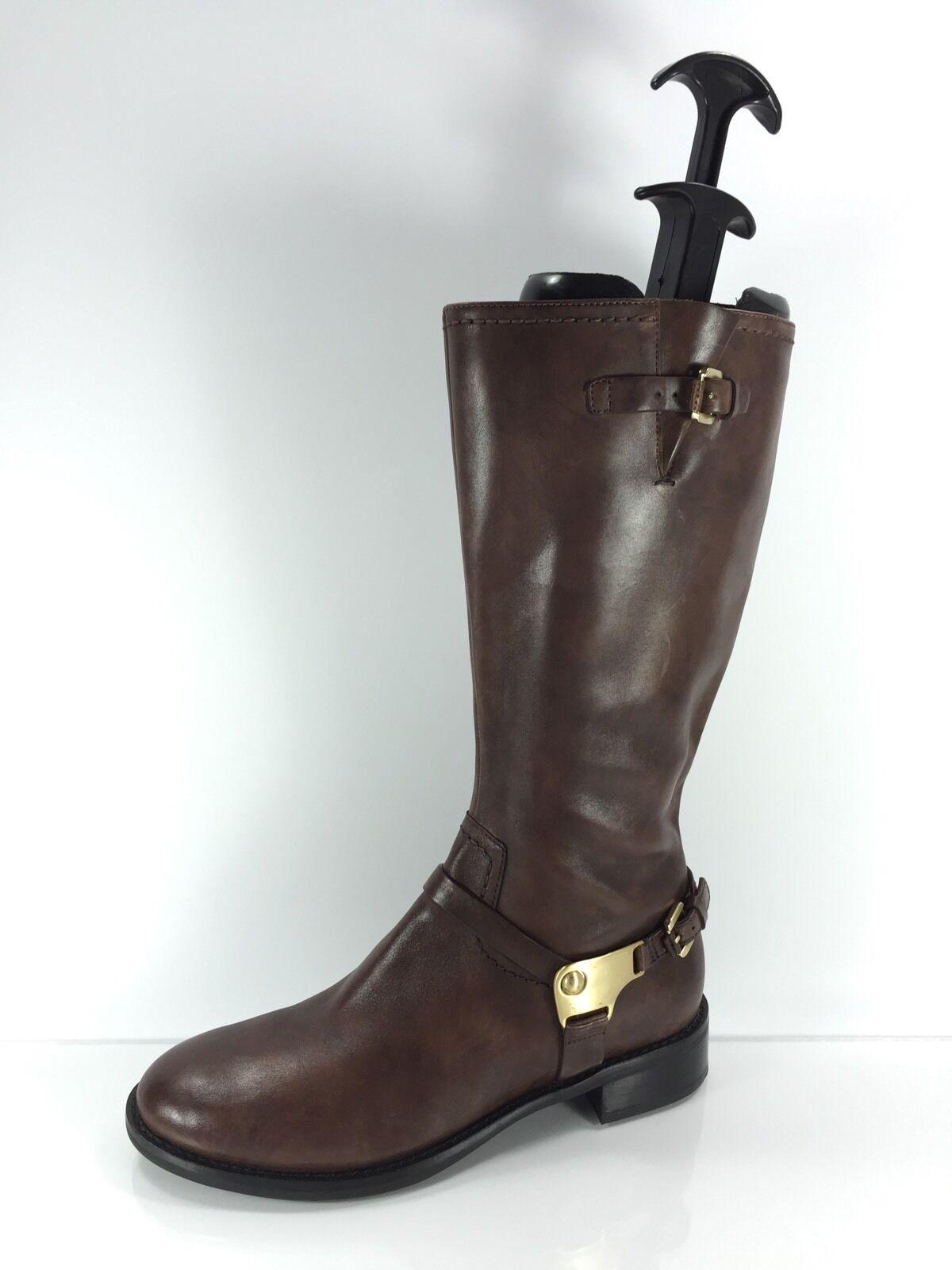 Ecco Para Mujer De Cuero Marrón Rodilla botas 38
