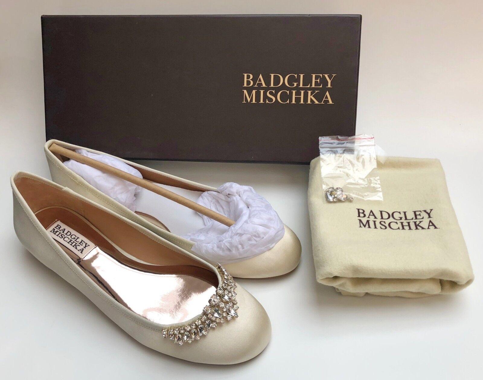 BADGLEY MISCHKA WENDY Embellished Ballet Flats Flats Flats shoes in Ivory Sz 6.5 R 185 NIB 6779a1