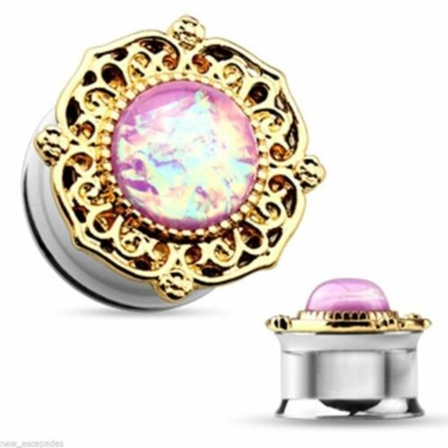 PAIR-Opal Pink w//Gold Accent Steel Double Flare Ear Plugs 05mm//4 Gauge Body Jewe