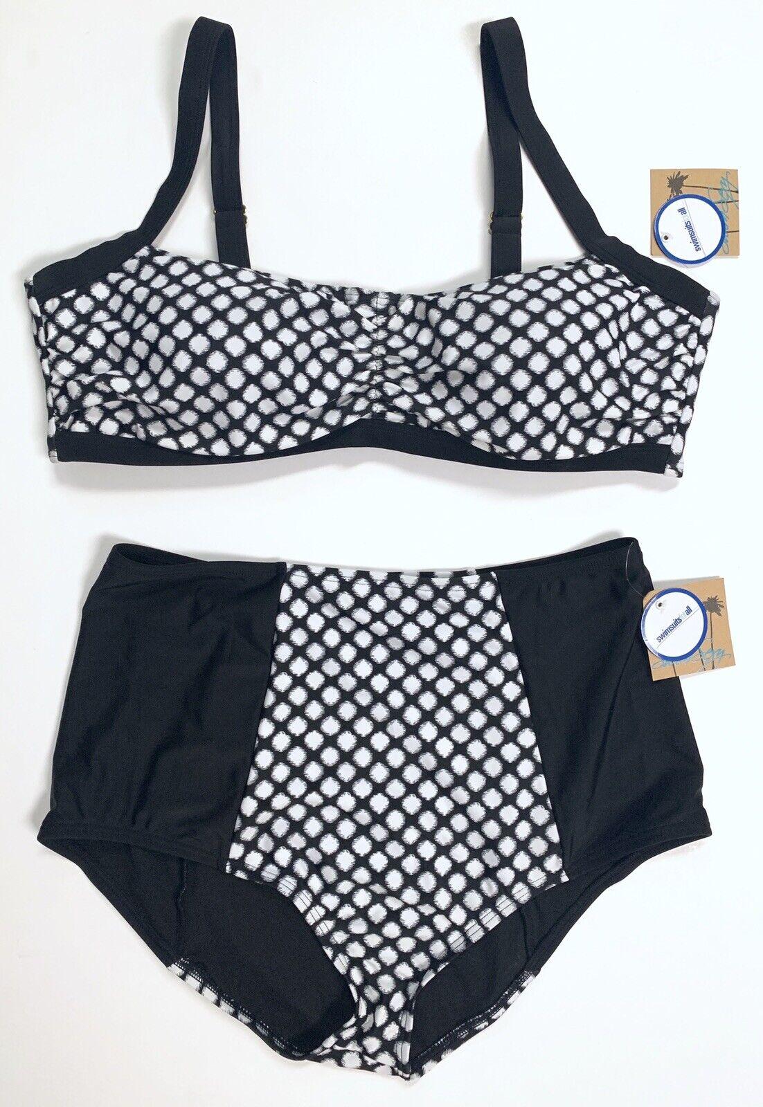 Maillots de Bain Pour All Taille Haute Buscravater Bikini Rétro Noir Polka Dot 18 18D 18DD