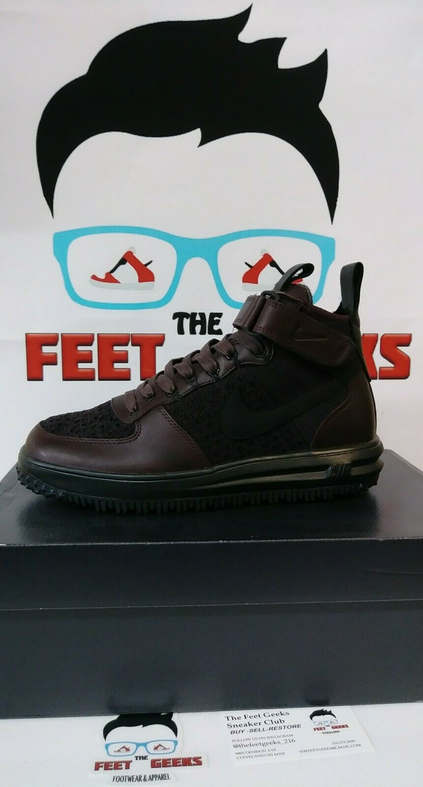 acde83c0cfffe9 NIKE LUNAR FORCE 1 BOOT BOOT BOOT BROWN LEATHER MENS SIZE 8 NEW WITH BOX 80