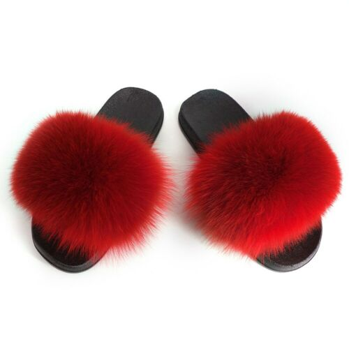 Real Fox Fur Slippers Vogue Fluffy Fur Sandals Trendy Slides Flat Shoes US Sizes