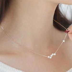 925-Sterlingsilber-Damen-Halskette-Kette-Sterne-Galaxie-Strass-Silber-Filigran