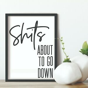 Bathroom Prints Wall Art Funny Humour Poster Pictures Toilet Home Quote A5 Relax