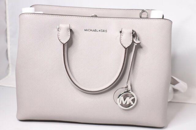 Michael Kors Pearl Grey Saffiano Leather Large Savannah Satchel Purse Bag