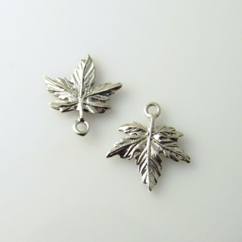 5 Lead Free Antique Silver Tone Pewter Charms Maple Leaf