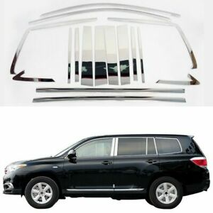 Full-Windows-Molding-Trim-Decoration-Strips-Center-Pillar-For-Toyota-Highlander