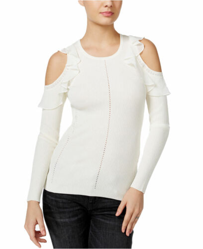 GUESS Womens Ruffled Cold-Shoulder Sweater Scuffy Rouge Lipstick $79