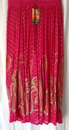 NEW LADIES SEQUINNED ETHNIC INDIAN GYPSY LONG MAXI SKIRT* 4 DESIGNS//6 COLOURS*