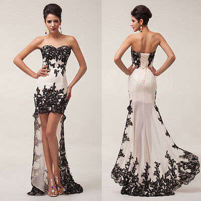 Charming Womens Strapless High-Low Prom Cocktail Party Evening Long Dresses JS