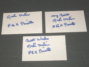 John-Milner-Autographed-Signed-3x5-Index-Cards-Lot-of-3-Pirates-Expos-Mets