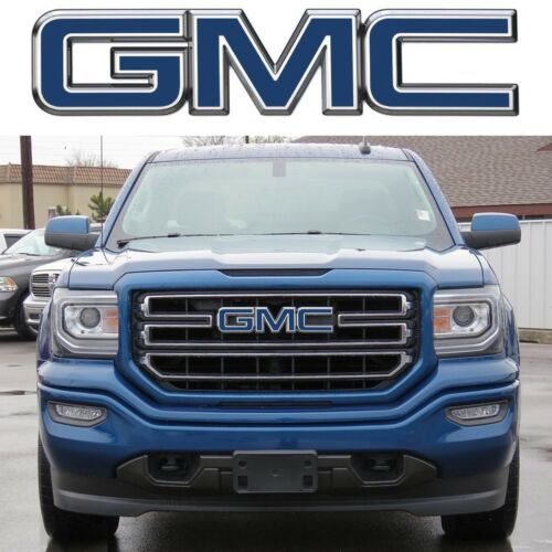 Stone Blue Metallic Front Emblem Vinyl Overlays CUT TO FIT 2015-2018 GMC Sierra