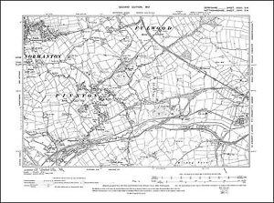 OLD ORDNANCE SURVEY MAP KIRKBY IN ASHFIELD 1914 CHURCH STREET DIAMOND AVENUE