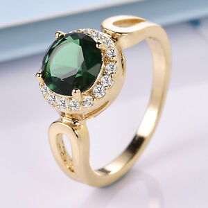 Luxury-Golden-Emerald-Crystal-18K-Gold-Filled-Women-Lady-Jewelry-Cocktail-Rings