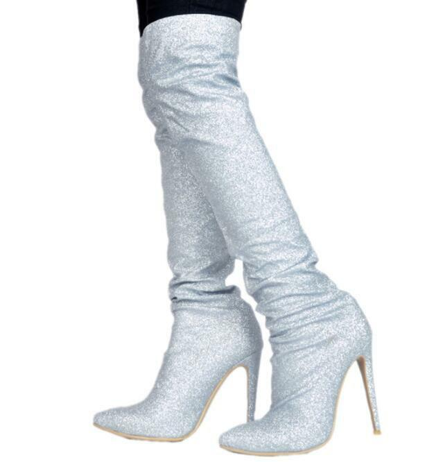 Womens Ridding Boots Knee High Boots Stretchy Slip On Knight Sexy High Heel shoes
