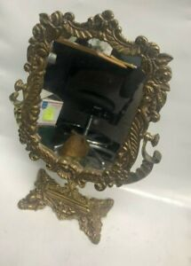 VINTAGE-NEO-CLASSICAL-CAST-BRASS-ORNATE-FLORAL-VANITY-TOP-MAKE-UP-MIRROR
