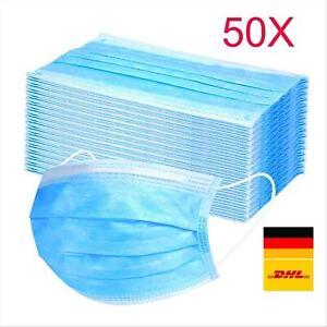 50 Stück Einweg Atem Mundschutz 3-Lagig Maske Schutzmaske Gesichtsmaske Filter ⭕