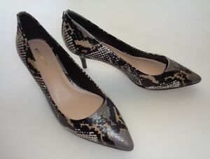 Coach-Lacey-Heels-Pump-Pointed-Toe-Black-Beige-Brown-Leather-Python-Size-7-B-NEW