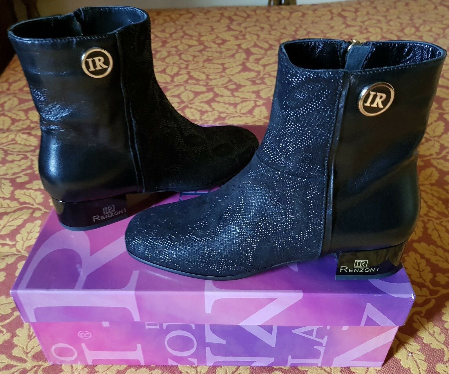 RENZONI Stivaletti leather neri pelle comodi eleganti leather Stivaletti boots Nuovi c5bd81