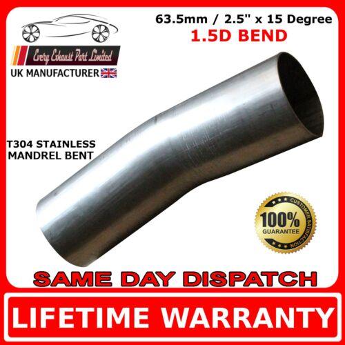 63mm 2.5 pollici 15 gradi Curva Mandrino Scarico in Acciaio Inox T304 1.5D 1.5mm Muro