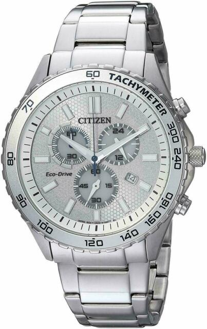 Citizen Eco-Drive Men's Chronograph Tachymeter Silver-Tone 43mm Watch AT2129-58A